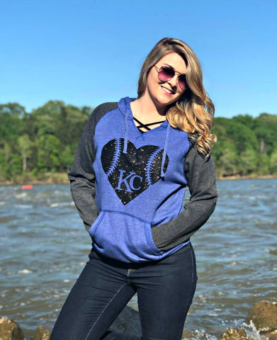 Blue/Grey Baseball Heart Sweatshirt