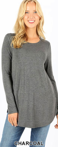 Basic Long Sleeved Tee Charcoal