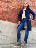 Long Open Cardigan in Navy