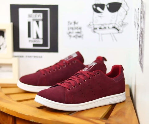 Adidas STAND SMITH Suede Maroon .
