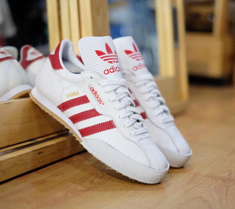 Adidas Samba Super Leather White Red || (Size Men Complete)