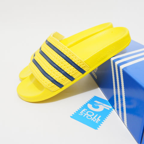 Adidas Adilette Yellow Strip Blue BNIB - Size Complete