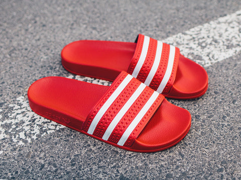 ADIDAS ADILETTE Red Strip White (Size Men Complete)