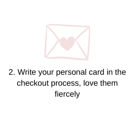 Step 2. Write your personal card at checkout