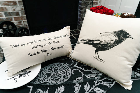 """The Raven"" Canvas Pillow Set"