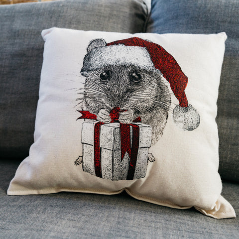 Mouse with Santa Hat Pillow