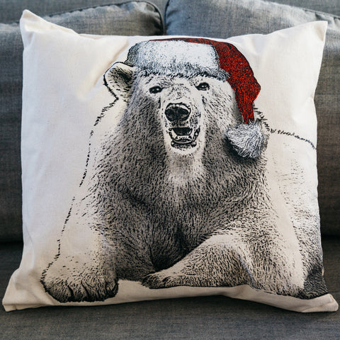 Polar Bear Santa Pillow