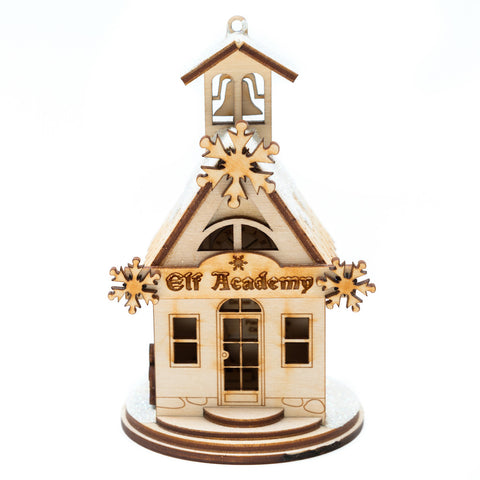 Elf Academy One Room Schoolhouse Ornament
