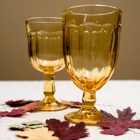 Honey Amber Glass Goblets