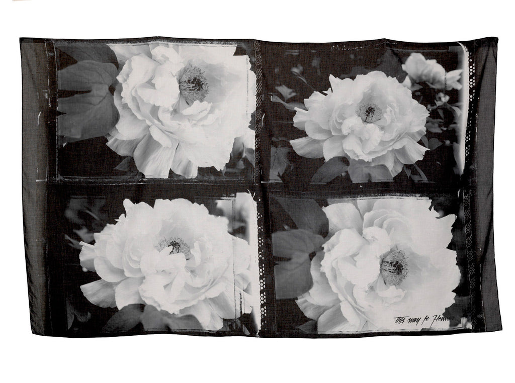 Peonies Oversized Scarf by Sheila Rock | Flat