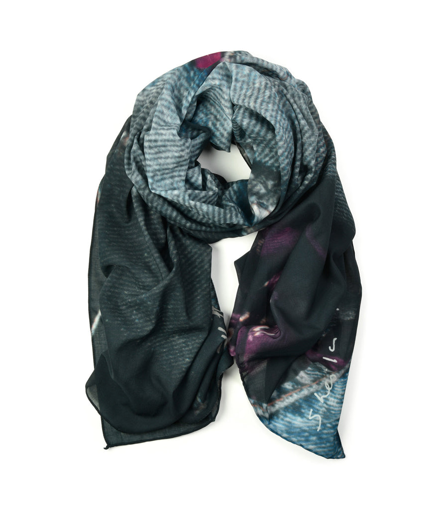 Jeans Scarf by Sheila Rock | Rolled