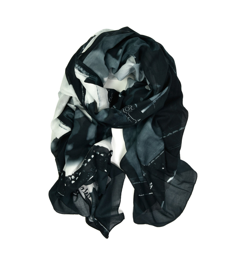 Peonies Oversized Scarf by Sheila Rock | Rolled