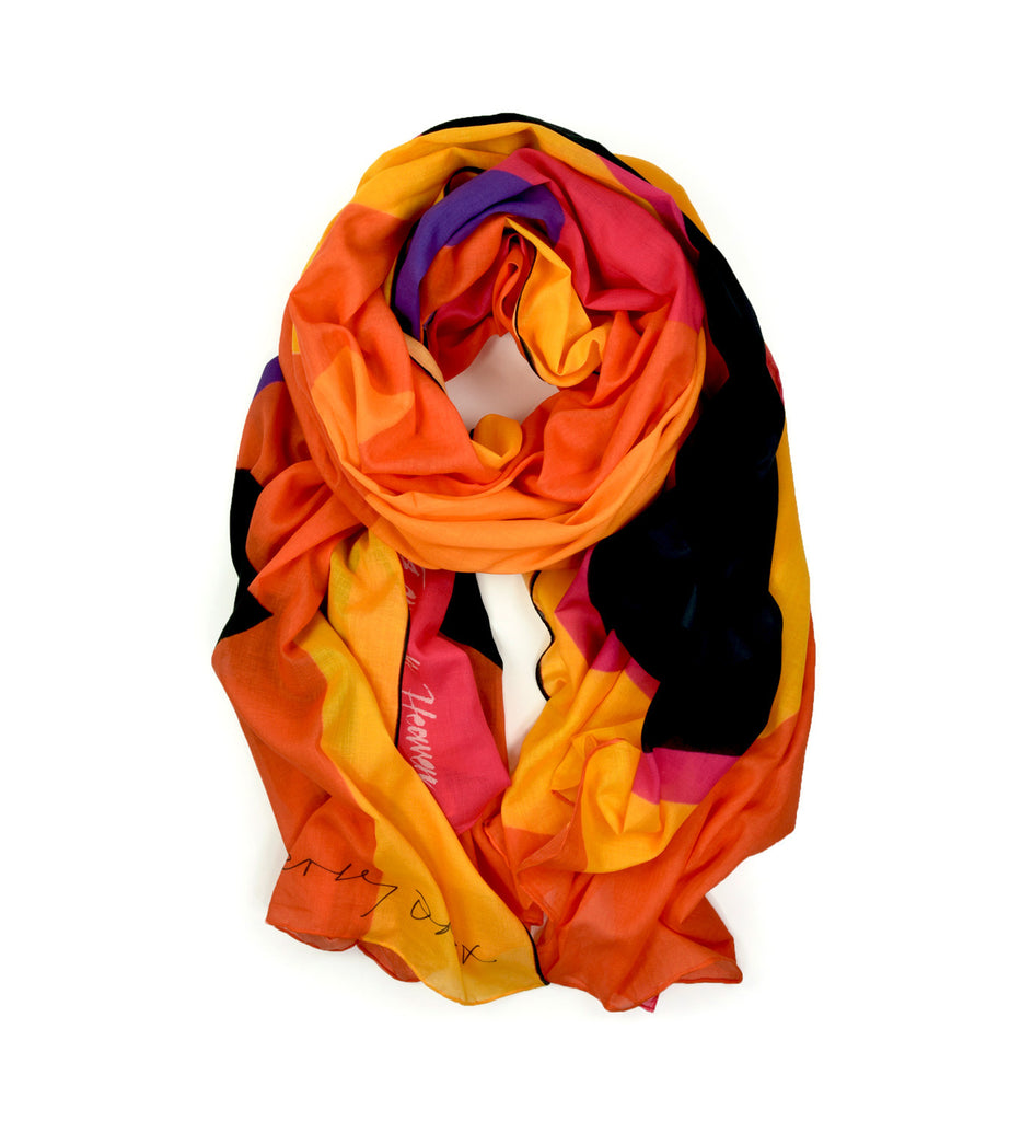Spiral Sun Oversized Scarf by Sir Terence Frost | Rolled