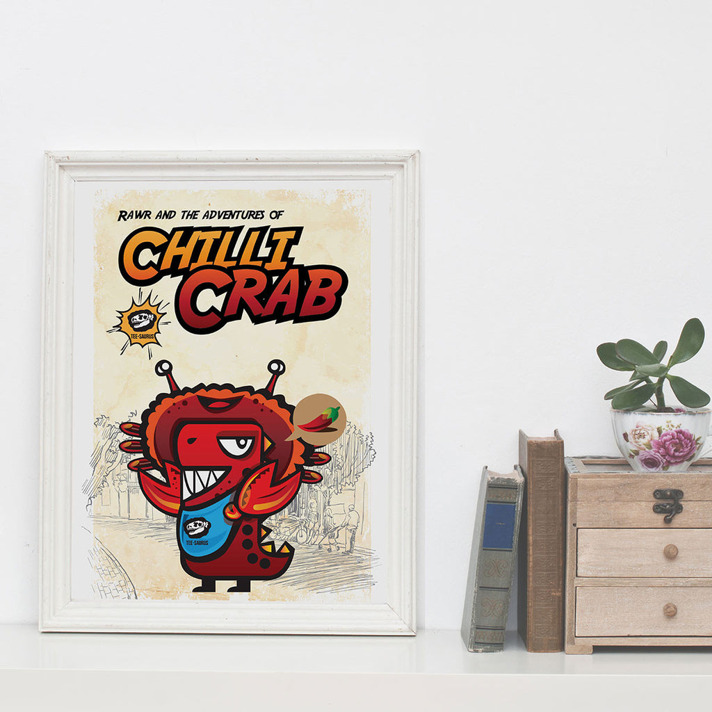 Art Prints-Rawr and the Chilli Crab Poster