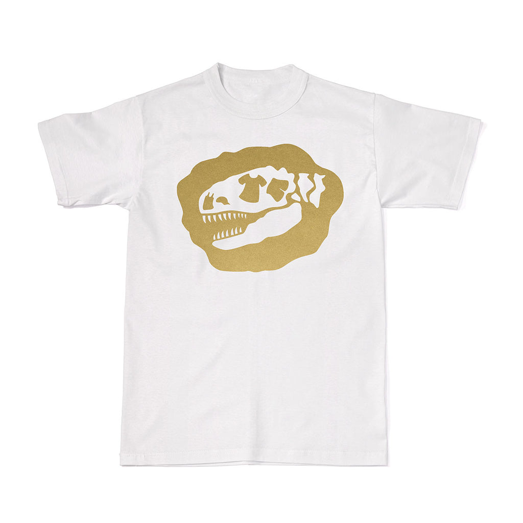 Signature Tee-Saurus Logo Tees - Chrome Gold T-shirt - Tee-Saurus - White