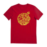 Christmas Edition tee - Glitter Gold T-shirt - Tee-Saurus - Red