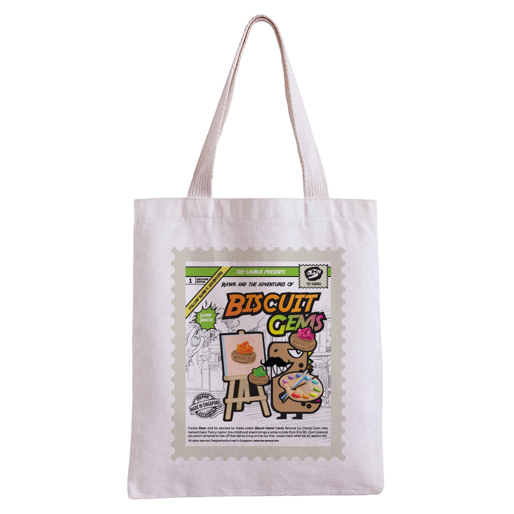 Tee-Saurus-Singapore-Biscuit Gem-Cotton-Totebag