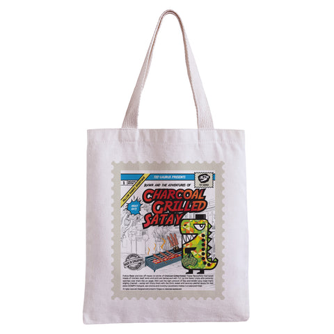 Tee-Saurus Happy Totes - Singapore Grilled Satay Tote Bag