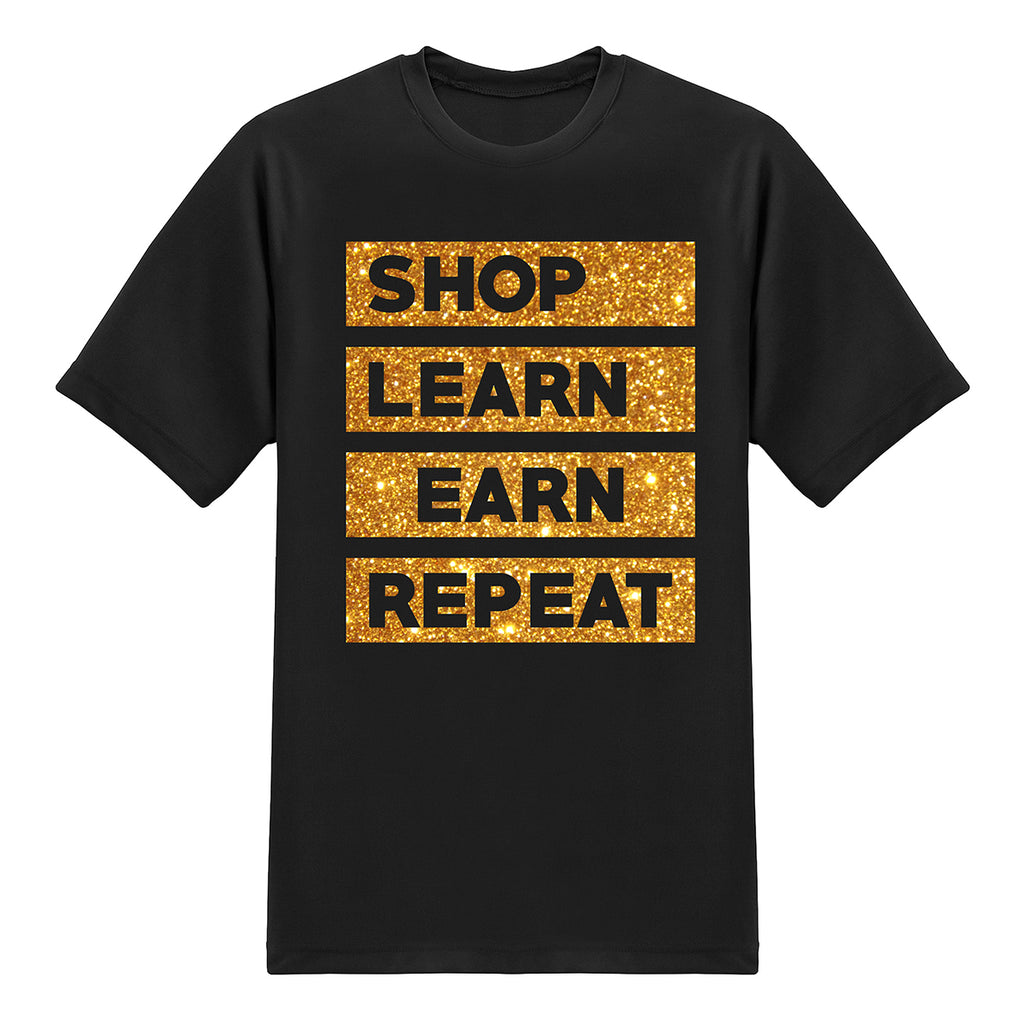 Shop.com UFO Series Tees - SHOP, LEARN,EARN,REPEAT - Glitter Gold on Black T-shirt