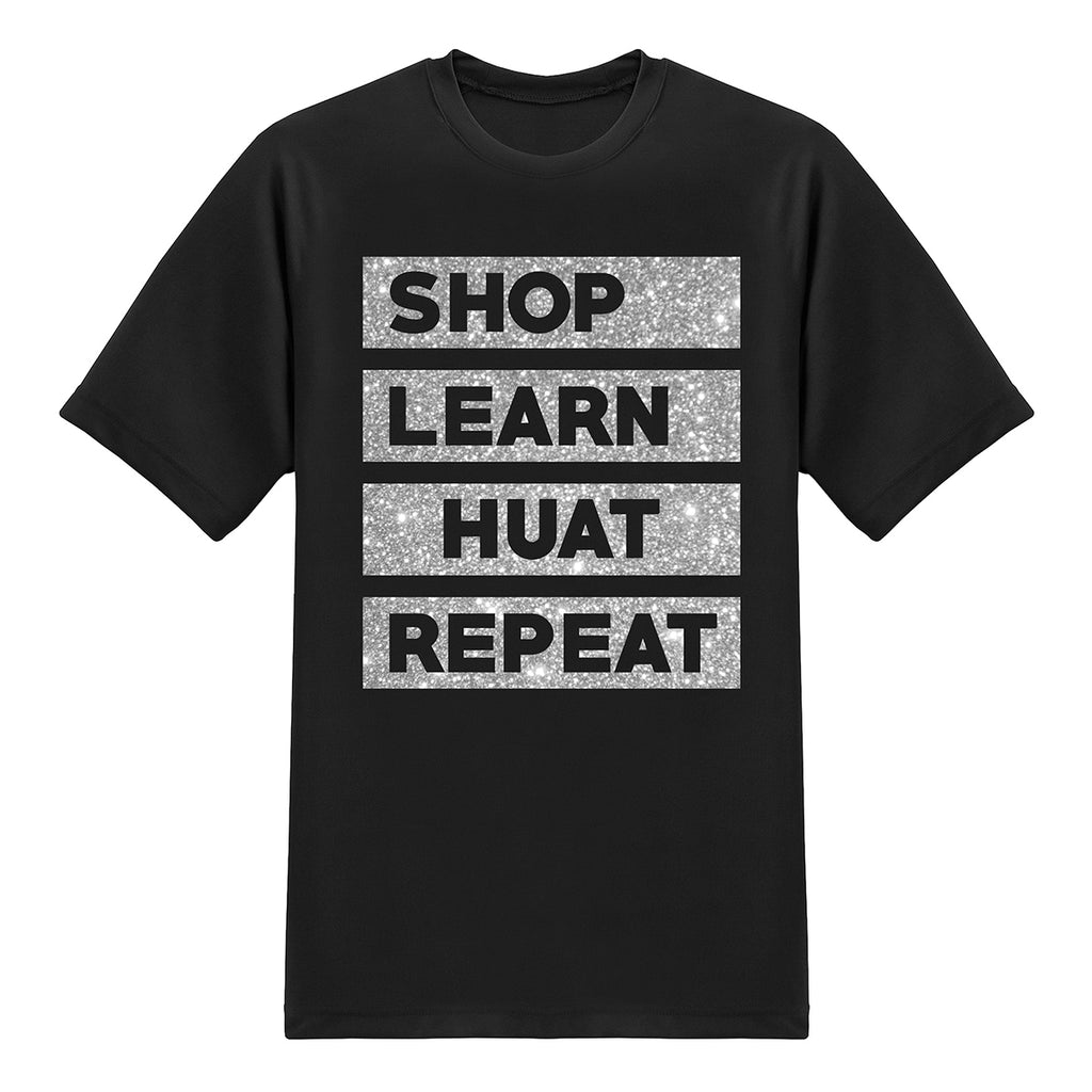 Shop.com UFO Series Tees - SHOP, LEARN,HUAT,REPEAT - Glitter Gold on Black T-shirt