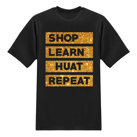 UFO Series Tees - SHOP HUAT - Gold Glitter on Black T-shirt