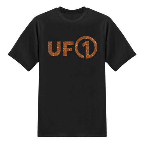 UFO ONE TEAM ONE DREAM- UFO Series Tees - Glitter Copper on Black T-shirt