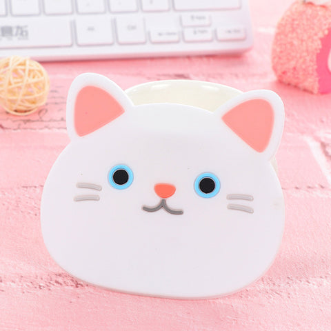 Happy White Blue-eyed Cat Coasters