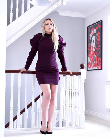 CELEBRITY STYLE BROADCASTER NAOMI ISTED WEARING THE PURPLE EOS DRESS FROM YAN NEO LONDON
