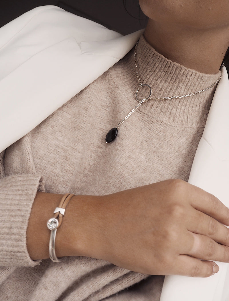 Yan Neo London Tan Leather Silver Swarovski Cuff Bracelet Styling Ideas