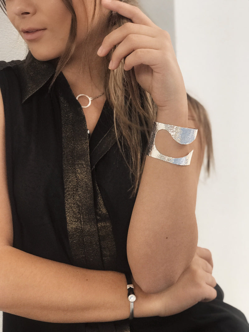 Yan Neo London Black Leather Silver Swarovski Cuff Bracelet worn on model
