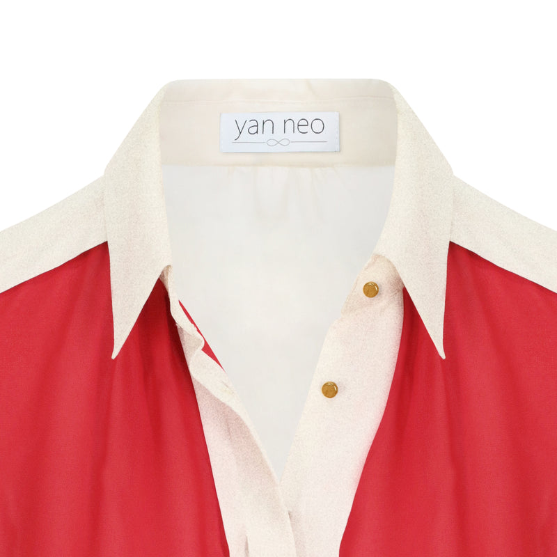 The Yan Neo Jean Red & Gold Shimmer Panelled Shirt Blouse Close Up
