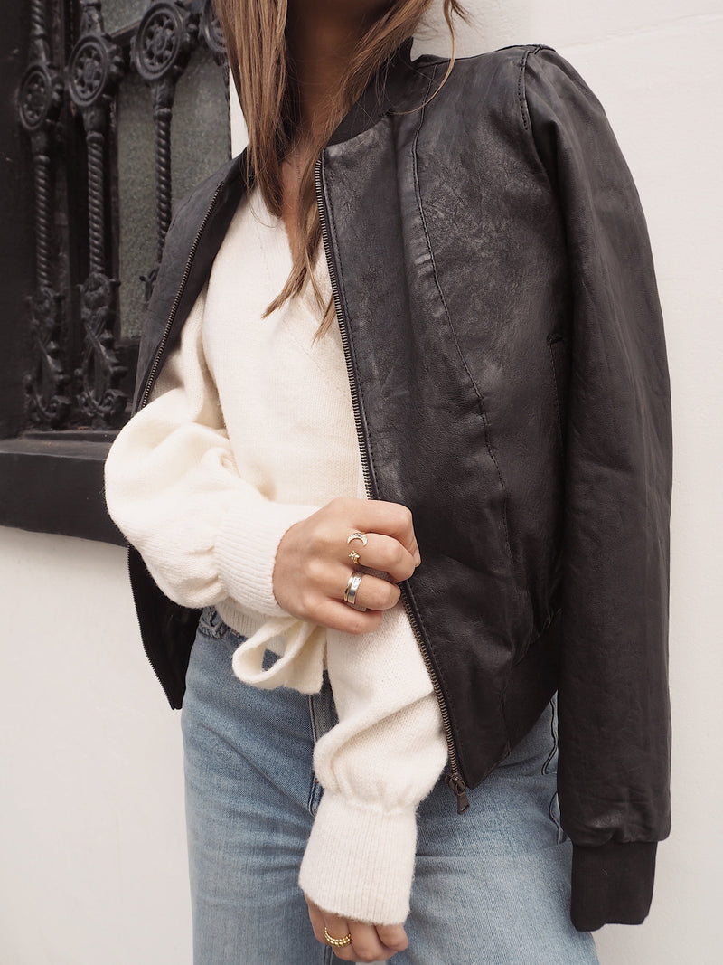 Yan Neo London Clio Black Vintage Leather Bomber Jacket On Model