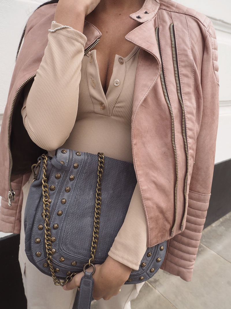Yan Neo London Clio Rose Pink Leather Biker Jacket Styling Ideas