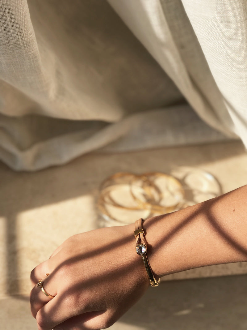 Yan Neo London Tan Leather Gold Swarovski Cuff Bracelet worn in summer sun