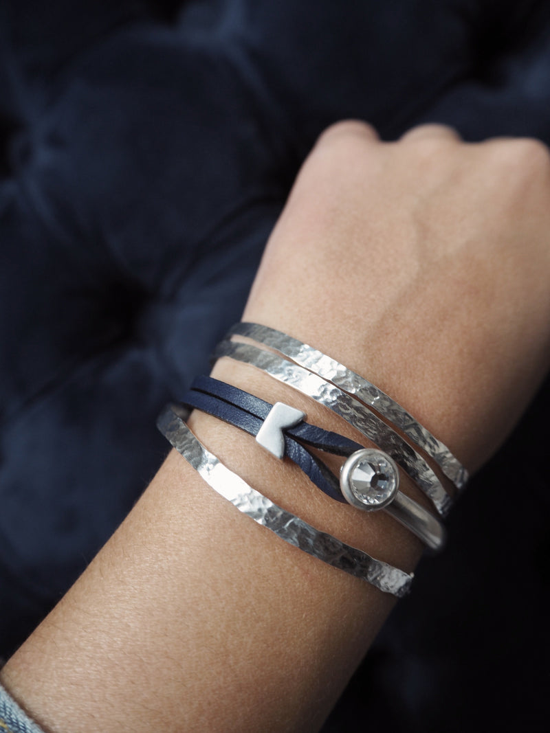 Yan Neo London Navy Leather Silver Swarovski Cuff Bracelet Stacked With The Silver Enyo Bracelet