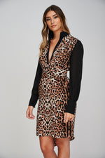 The AERO Asymmetric Leopard Print Dress Close up