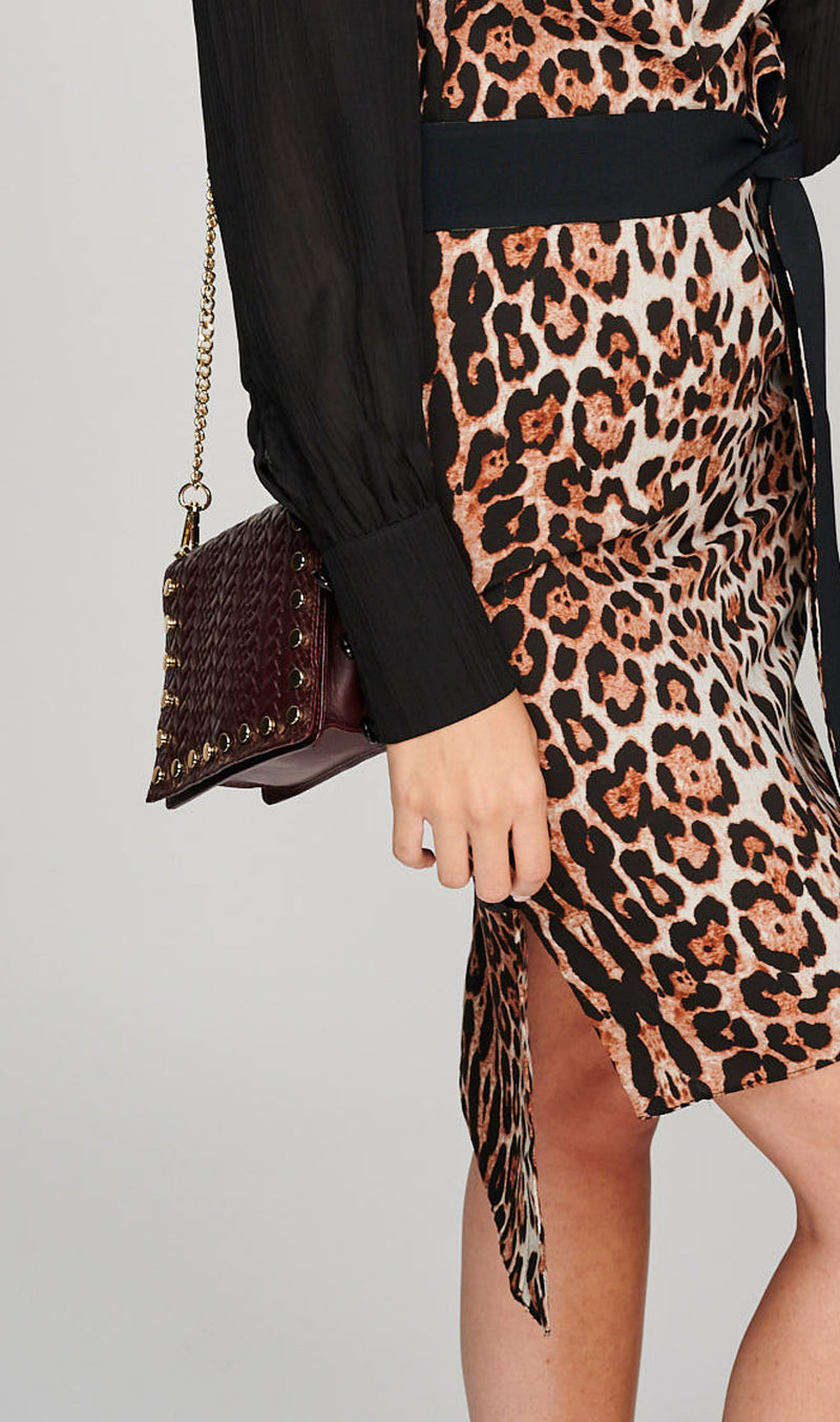 The AERO Asymmetric Leopard Print Dress Side detail