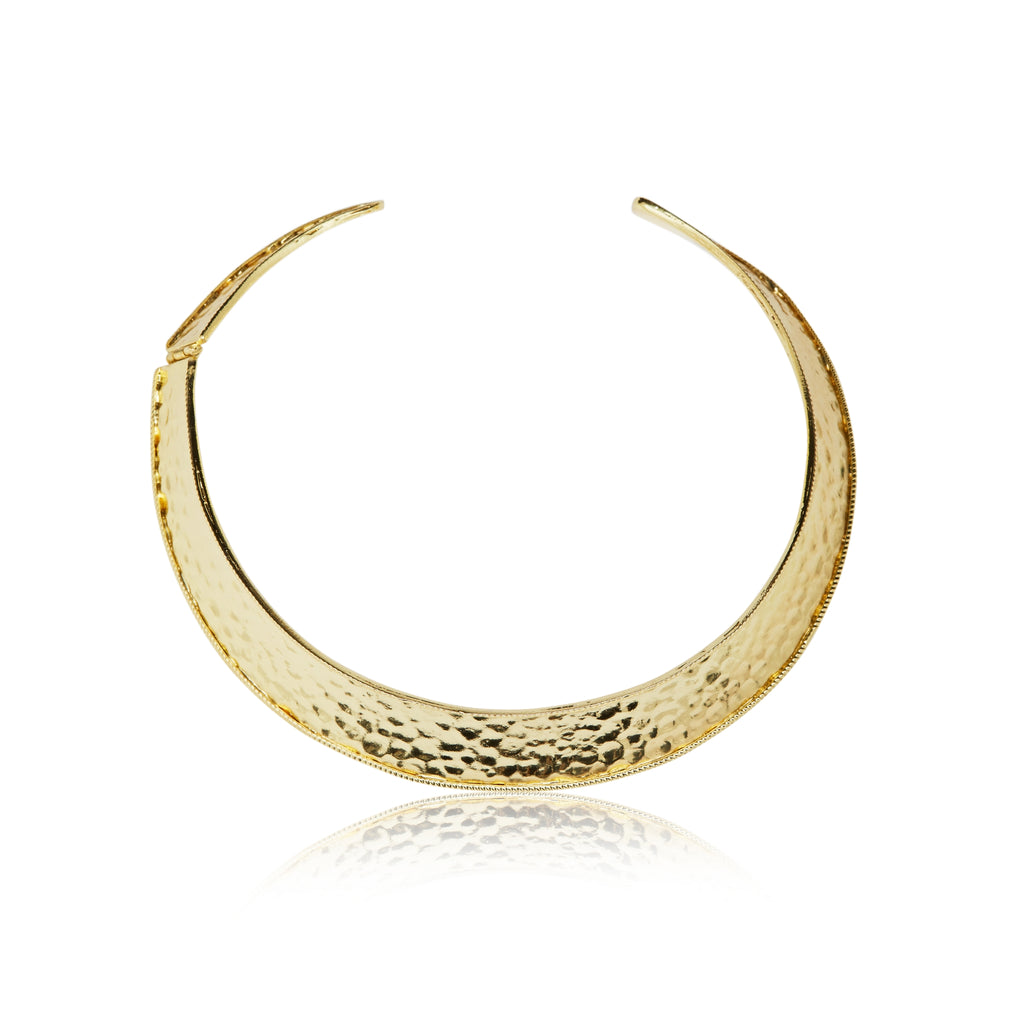 The Amara Gold Hammered Metal Chocker Necklace