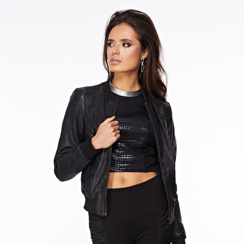 The Amara Silver Choker Necklace On Model With Leather Jacket