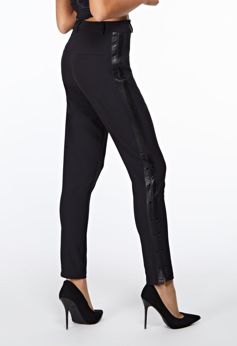 Black Neo Tux High Waist Trousers Closeup