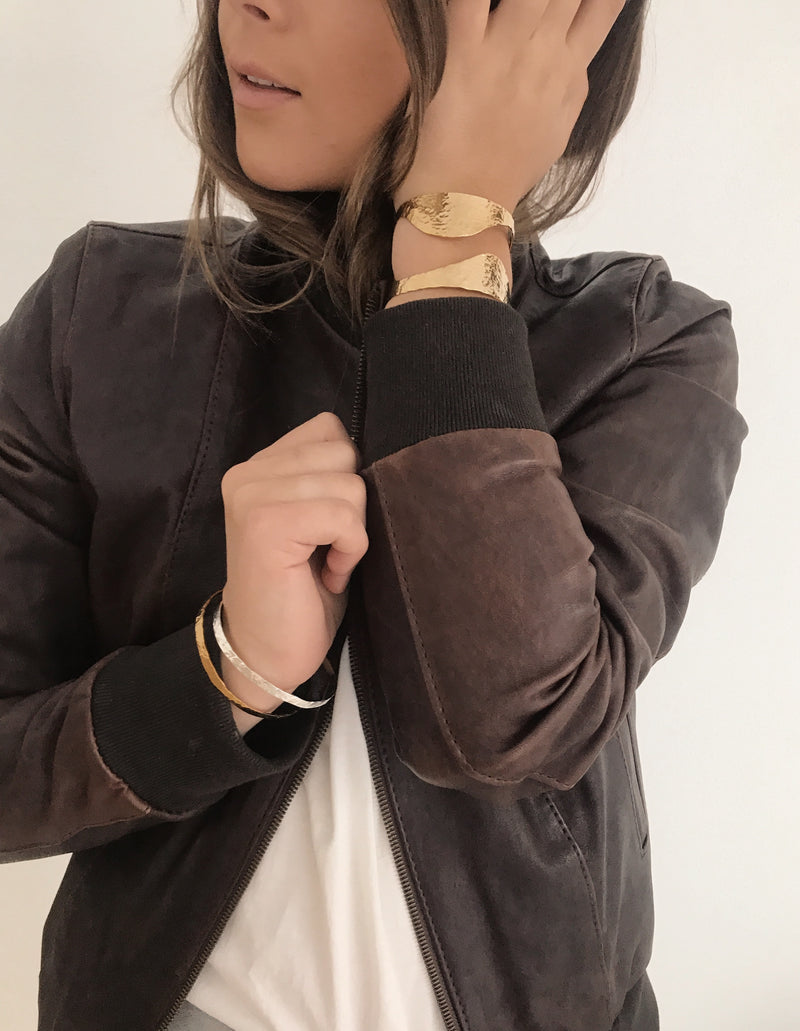TEAM THE BELLONA GOLD CUFF WITH BROWN LEATHER BOMBER JACKET