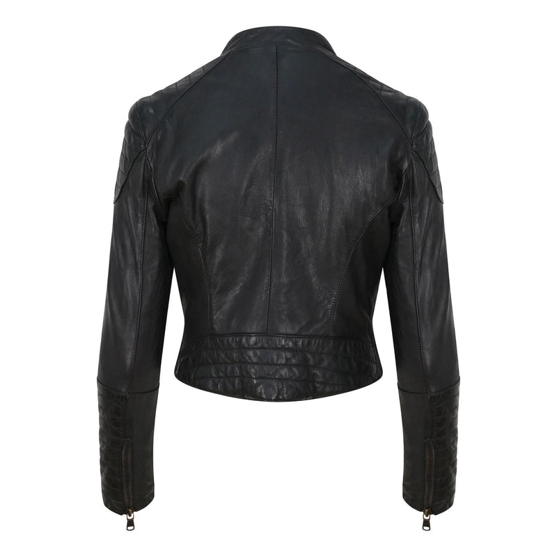 Yan Neo London Clio Black Leather Biker Jacket Back