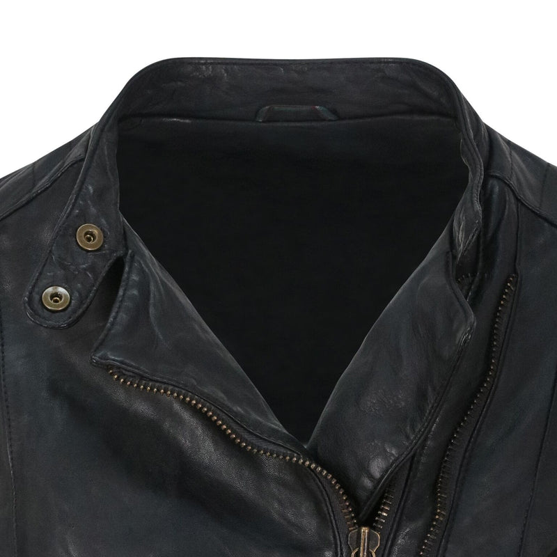 Yan Neo London Clio Black Leather Biker Jacket Close Up