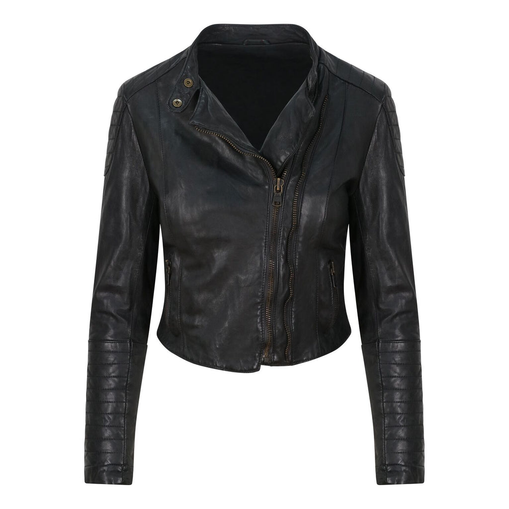 Yan Neo London Clio Black Leather Biker Jacket