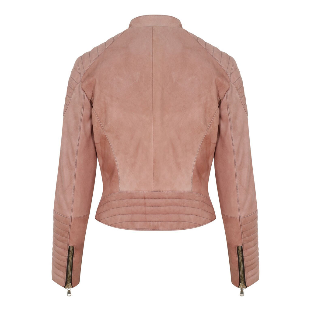 Yan Neo London Clio Rose Pink Leather Biker Jacket Back