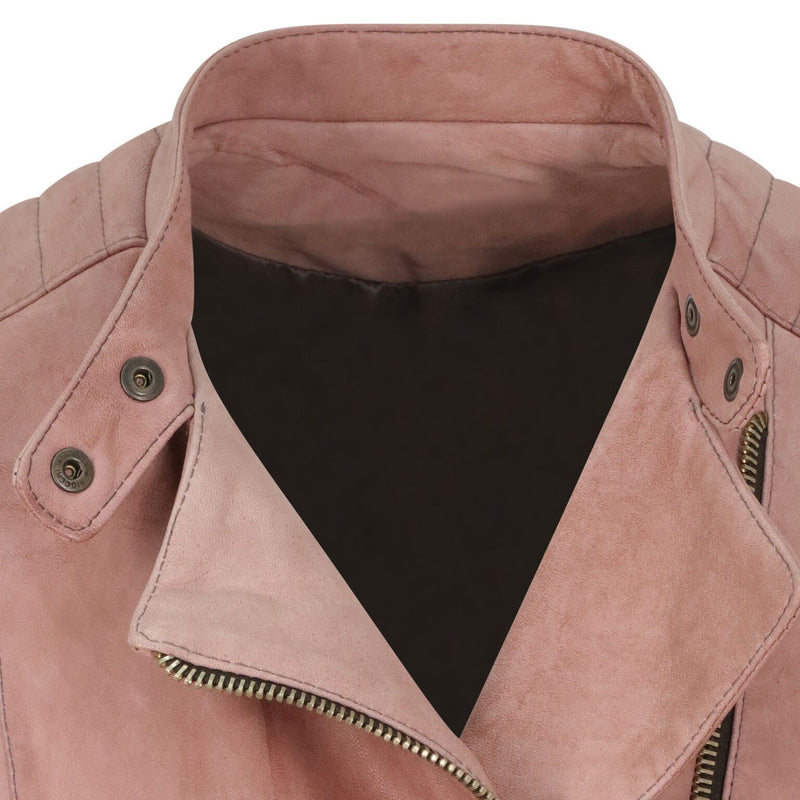Yan Neo London Clio Rose Pink Leather Biker Jacket Close Up