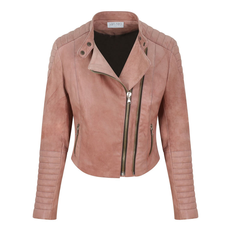 Yan Neo London Clio Rose Pink Leather Biker Jacket