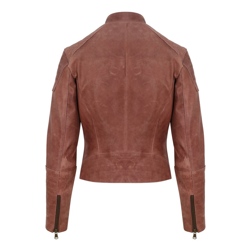 Yan Neo London Clio Rosewood Pink Leather Biker Jacket Back