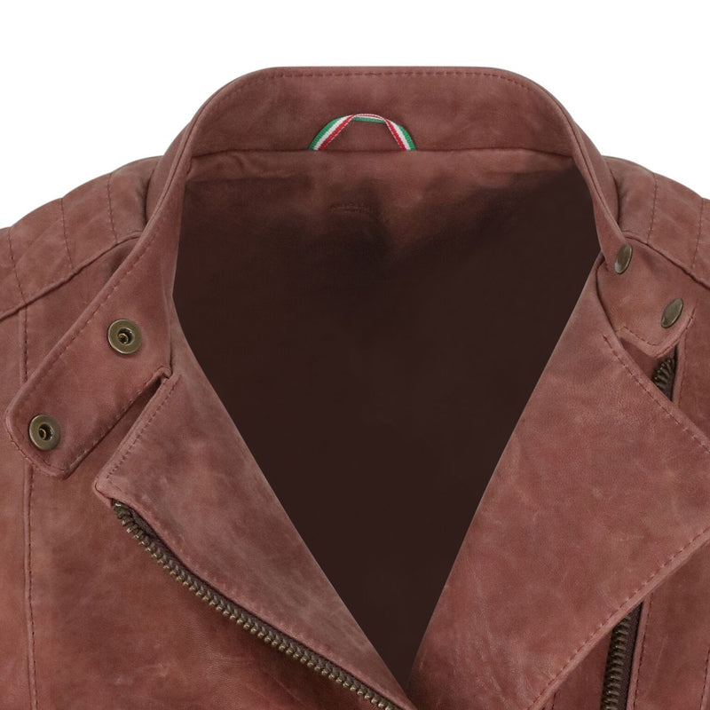Yan Neo London Clio Rosewood Pink Leather Biker Jacket Close Up