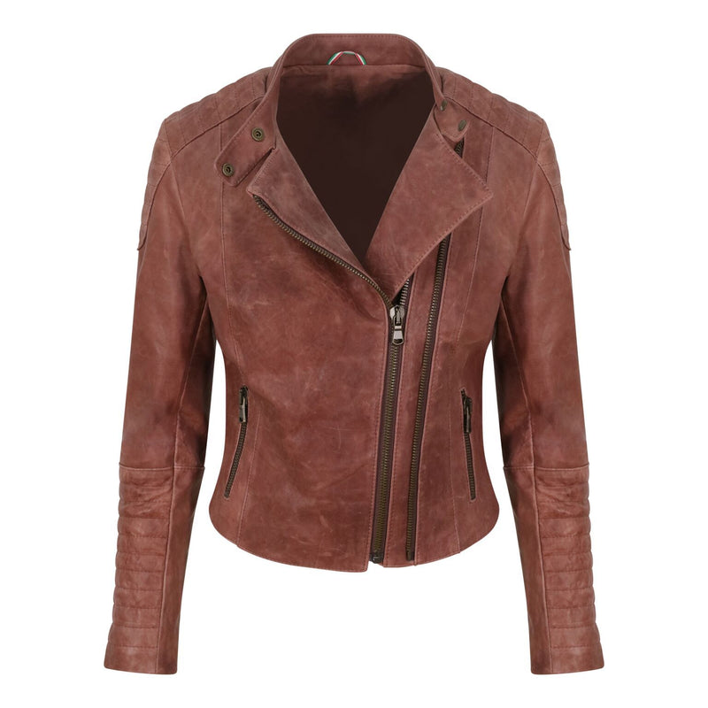 Yan Neo London Clio Rosewood Pink Leather Biker Jacket